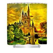 Cinderella Castle - Van Gogh Style Shower Curtain