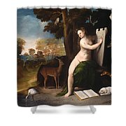 Circe And Her Lovers In A Landscape Shower Curtain