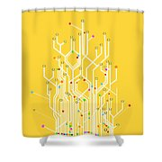 Circuit Board Graphic Shower Curtain