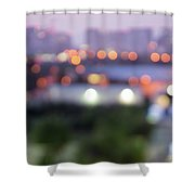 City Lights Bokeh Night Abstract Shower Curtain