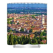 City Of Verona Old Center And Adige River Aerial Panoramic View Shower Curtain