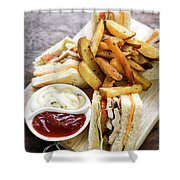 Classic Club Sandwich With Fries On Wooden Board Shower Curtain