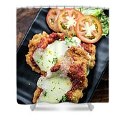 Classic  Italian Chicken Parmigiana With Cheese And Tomato Sauce Shower Curtain