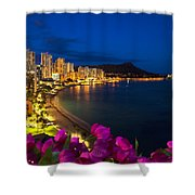 Classic Waikiki Nightime Shower Curtain by Tomas del Amo - Printscapes