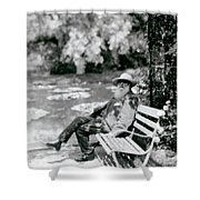 Claude Monet In His Garden Shower Curtain