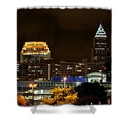 Colorful Sky Above The City On The Shore Shower Curtain