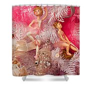 Close-up Of Toys On Christmas Tree Shower Curtain