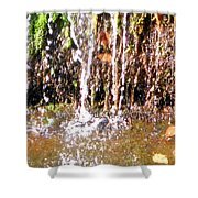 Close Up Of Waterfall Flowing Over Rocks  Shower Curtain
