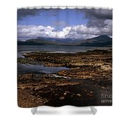 Cloud Passing Across The Cuillin Main Ridge And Bla Bheinn From Tokavaig Sleat Isle Of Skye Scotland Shower Curtain