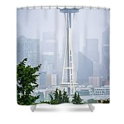 Cloudy And Foggy Day With Seattle Skyline Shower Curtain