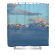 Cloudy Sky Surrounding The Dolomite Mountains In Italy  Shower Curtain