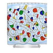 Clown Memory Cells Blue Shower Curtain