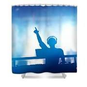 Club Dj Playing And Mixing Music For People Shower Curtain