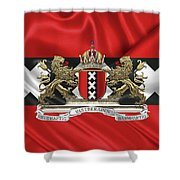 Coat Of Arms Of Amsterdam Over Flag Of Amsterdam Shower Curtain