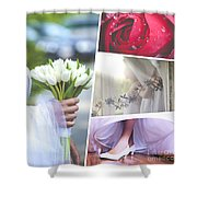 Collage Of Wedding Time Sensational Shower Curtain