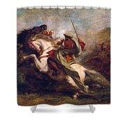 Collision Of Moorish Horsemen Shower Curtain