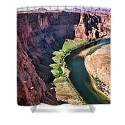 Colorado River Flows Around Horseshoe Bend  Shower Curtain