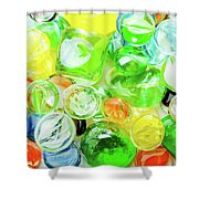 Colored Glass Beads On White Background Shower Curtain