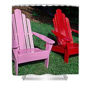 colorful Adirondack chairs Shower Curtain