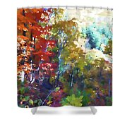 Colorful Autumn Trees In Forest Shower Curtain