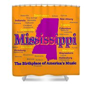 Colorful Mississippi State Pride Map Silhouette  Shower Curtain