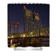 Columbia Crossing I-5 Interstate Bridge At Night Shower Curtain