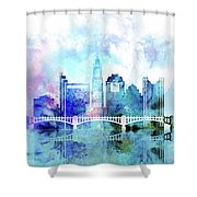 Columbus  Watercolor Skyline Shower Curtain