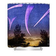 Comets In Night Sky Shower Curtain
