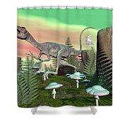 Compsognathus Dinosaur - 3d Render Shower Curtain