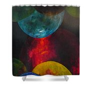 Converging Worlds Shower Curtain
