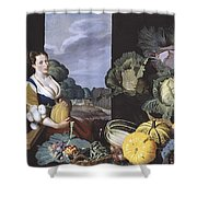 Cookmaid With Still Life Of Vegetables And Fruit Shower Curtain