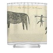 Copies After San Rock-paintings Of An Ox, A Baboon, And A Man, Robert Jacob Gordon, 1777 Shower Curtain