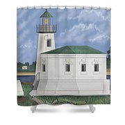 Coquille River Lighthouse At Bandon Oregon Shower Curtain