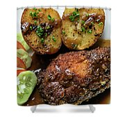 Cordon Bleu Breaded Fried Chicken Gravy And Potatoes Meal Shower Curtain