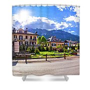 Cortina D' Ampezzo Street And Alps Peaks Panoramic View Shower Curtain