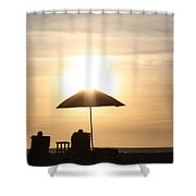Couple On The Beach At Sunset Shower Curtain