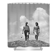 Couple Out Golfing, C.1930s Shower Curtain