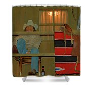 Cowboy On Porch Shower Curtain