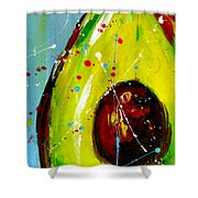 Crazy Avocado Shower Curtain by Patricia Awapara