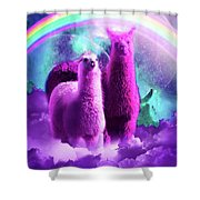 Crazy Funny Rainbow Llama In Space Shower Curtain