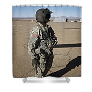 Crew Chief Of A Ch-47 Chinook Stands Shower Curtain