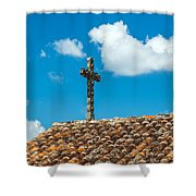 Cross And Tiled Roof Shower Curtain