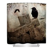 Cross With Crow Shower Curtain