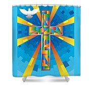 Cross With Dove Shower Curtain