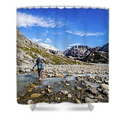 Crossing A River In Patagonia Shower Curtain