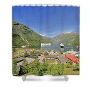 Cruise In Geiranger Fjord Norway Shower Curtain