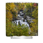 Cullasaja Falls In Autumn Shower Curtain