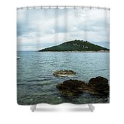 Cunski Beach And Coastline, Losinj Island, Croatia Shower Curtain