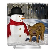 Curious Piglet And Snowman Shower Curtain