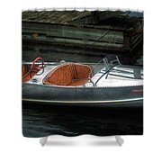 Cute Boat - 1948 Feather Craft Shower Curtain